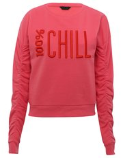 Teens' gathered sleeve slogan sweater
