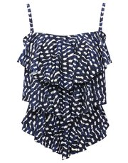 Squiggle print layered multiway tankini top