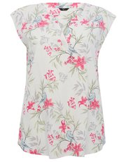 Plus floral linen blend top