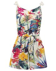 Tropical print tassel playsuit