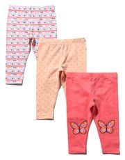 Butterfly and heart print leggings three pack