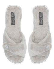 Diamante faux fur slippers