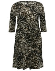 Plus feather print tie belt dress