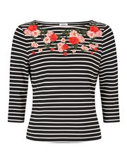 Precis Petite embroidered stripe top