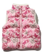 Butterfly print borg lining gilet