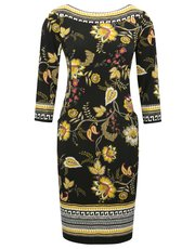 Floral print border dress