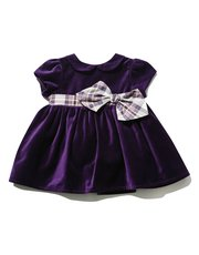 Checked bow cord dress