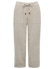 Stripe print cropped linen blend trousers