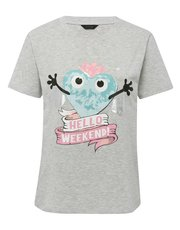 Weekend slogan pyjama top