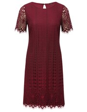 Lace border shift dress