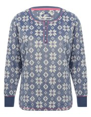 Snowflake print fleece pyjama top
