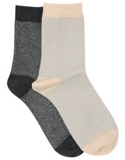 Pretty Polly lurex stripe socks pack of two