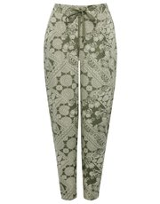 Petite patchwork print trousers