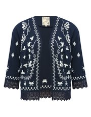 Embroidered lace trim jacket
