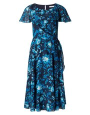 Jacques Vert printed soft tie dress