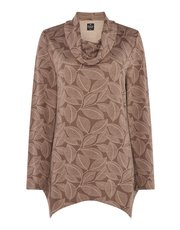 TIGI leaf printed cowl neck top