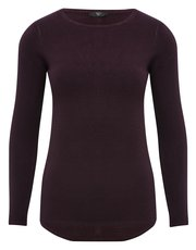 Petite crew neck button back jumper