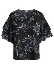 Pieces floral frill sleeve top