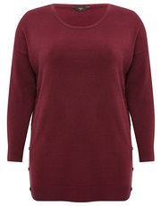 Plus button trim super soft jumper