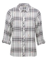 Floral emboridered check shirt