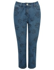 Cropped floral print jeans