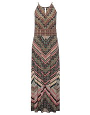 Aztec print halter neck maxi dress