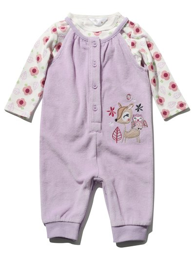 Deer velour dungarees and top set