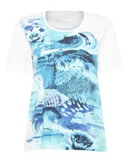 TIGI crew neck placement print top