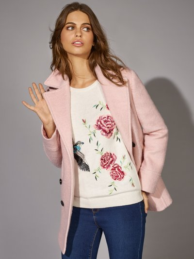 Floral bird embroidered jumper