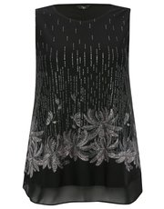 Plus sleeveless floral sparkle top