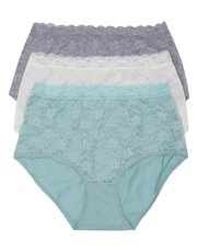 Plain lace full briefs multipack