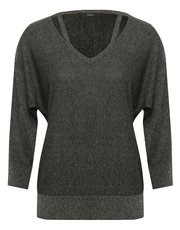 Glitter split neck jumper