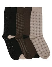 Patterned and plain socks five pair pack