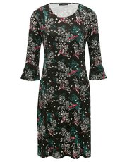 Floral print flute sleeve dress