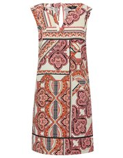 Petite tile print linen blend shift dress