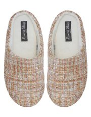 Sequin knit mule slippers