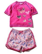 Butterfly rash guard swim set
