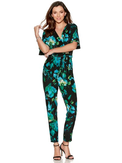 Floral wrap over jumpsuit