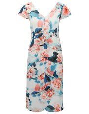 Floral layered hem shift dress