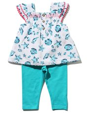 Seashell print smock top and leggings set