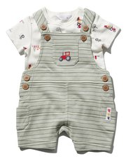 Tractor stripe bibshort and t-shirt set