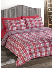 Brushed cotton red check duvet set