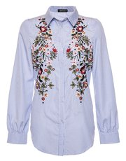 Quiz striped embroidered shirt