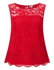 Precis Petite bonded lace shell top