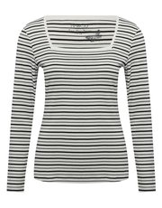 Stripe square neck long sleeve top