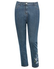Plus embroidered straight leg jeans