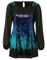 Sheer sleeve sequin tunic top