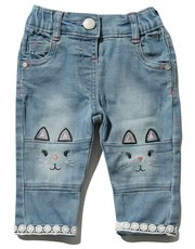 Cat embroidered lace trim jeans