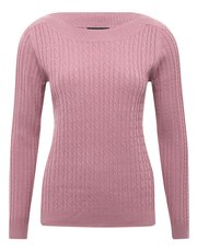 Slash neck cable knit jumper