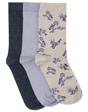 Bird print socks three pack